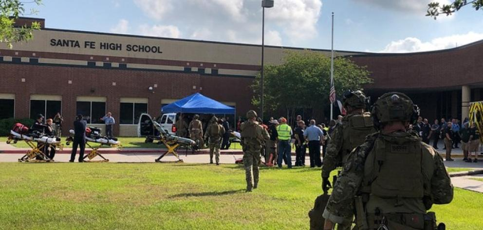 Law enforcement officers are responding to Santa Fe High School. Photo: Harris County Sheriff Office via Reuters