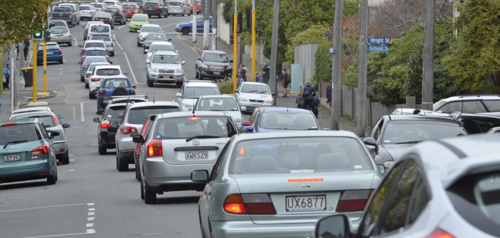 Traffic backs up on Highgate from  Roslyn Village shortly after 3pm on Friday. Photo: Stephen...