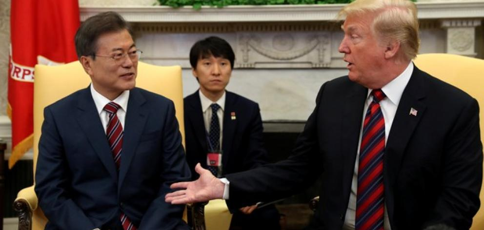 US President Donald Trump welcomes South Korea's President Moon Jae-In in the White House. Photo: Reuters