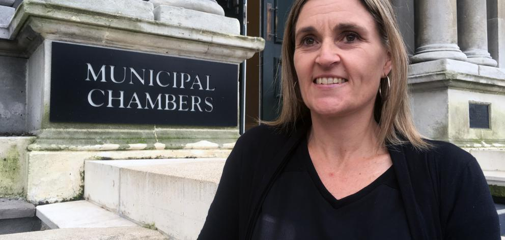 Michelle Budge raised concerns about freedom camping in Brighton in the public forum of a Saddle Hill Community Board meeting at the Municipal Chambers last week. Photo: Shawn McAvinue