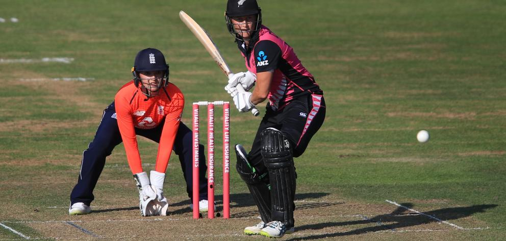New Zealand batsman Sophie Devine bats against England during their tri-series twenty20...