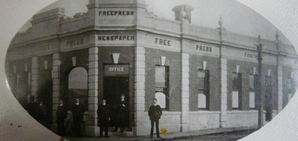 The Clutha Free Press building at the corner of James and John Sts, Balclutha, c.1891, taken over...