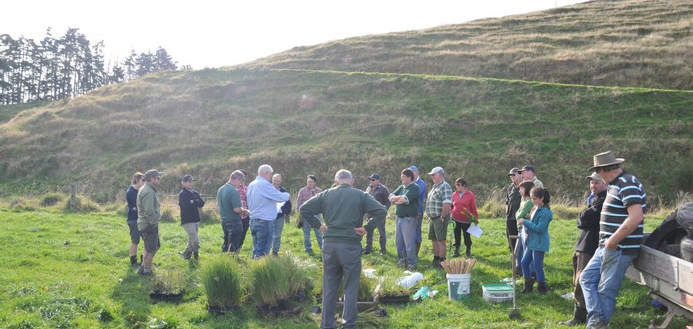 Pomahaka Water Care Group chairman Lloyd McCall addresses volunteers at a riparian management day...