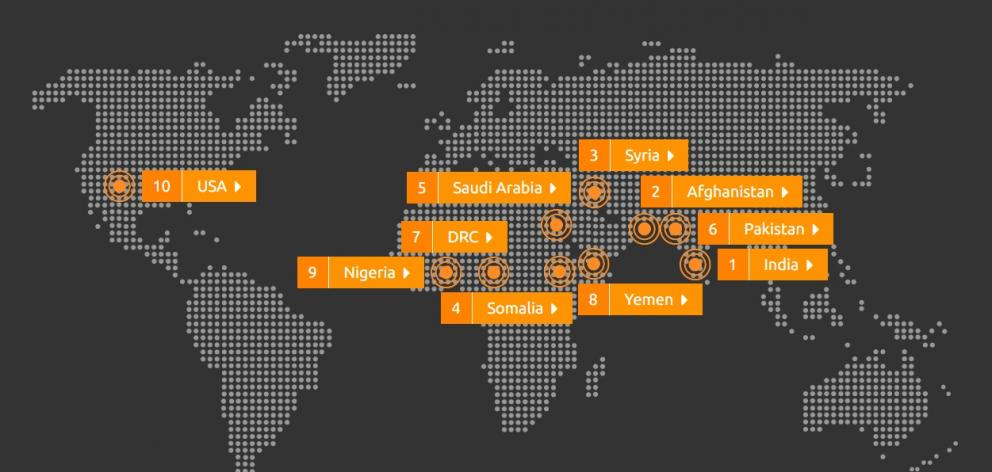 A graphic of the top 10 most dangerous countries for women according to an international poll. Photo: Thomson Reuters