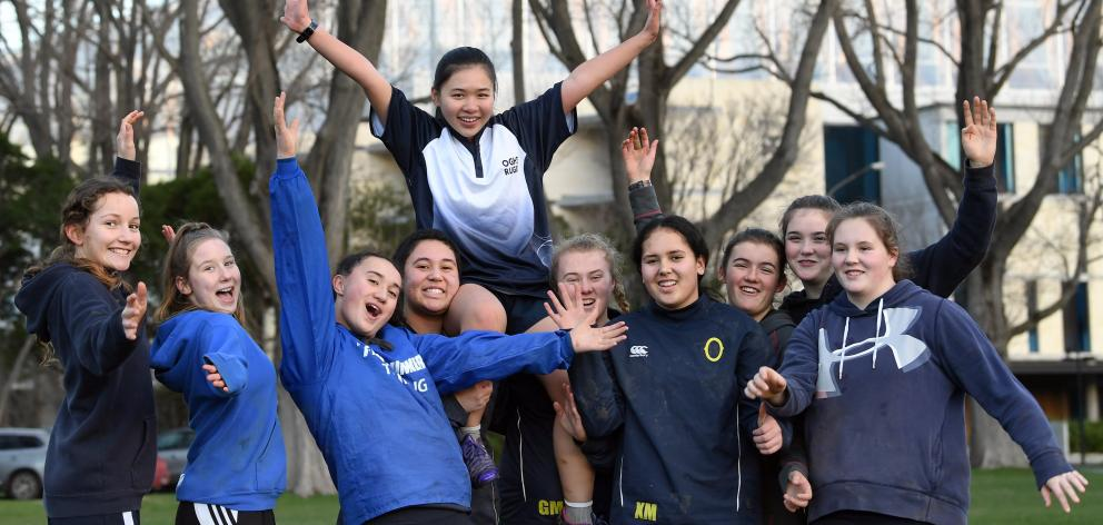 Otago Girls' High School rugby players (from left) Petra McNutt Milne, Toyah McFarlane, Oceana...