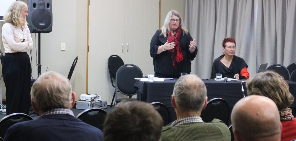Otago Regional Council representatives speak to a group of about 50 irrigators at a minimum flow...