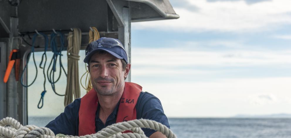 Niwa marine geologist Dr Joshu Mountjoy during the survey of the Kaikoura coastline, following the Kaikoura earthquake. Photo: Supplied