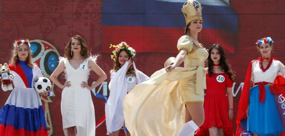 """Women take part in a regional preliminary stage of the """"Miss Russia"""" beauty contest in Stavropol. Photo: Reuters"""