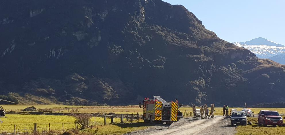Emergency services work at the scene of a fatal crash near Wanaka yesterday. PHOTO: SEAN NUGENT