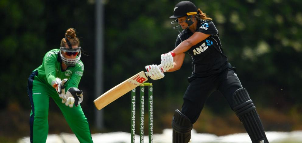 Suzie Bates plays a shot off of a delivery from Cara Murray of Ireland during the Women's One Day International match between Ireland and New Zealand. Photo: Getty Images