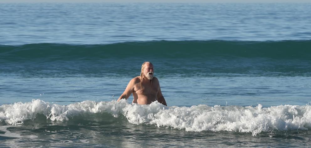 Southern Free Beaches naturist club member Paul Campion makes a splash at the club's annual...