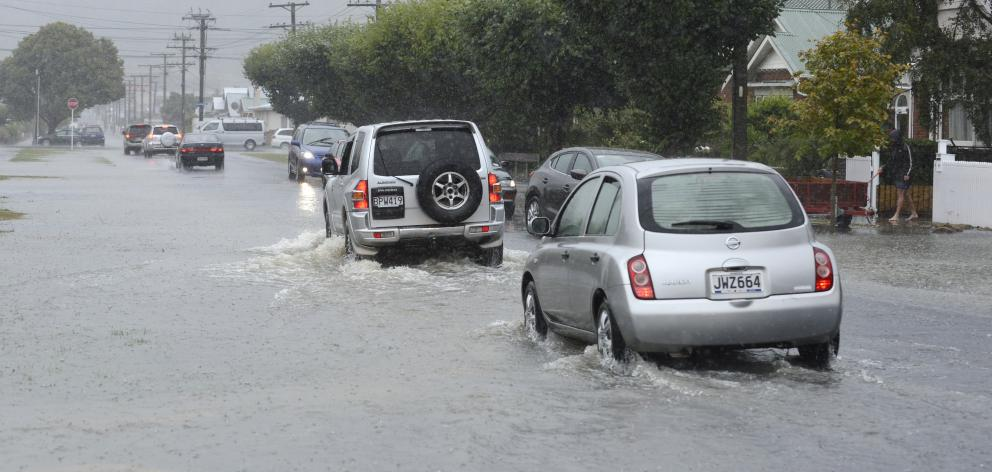 Surface flooding in Surrey St in January. Photo: Gerard O'Brien