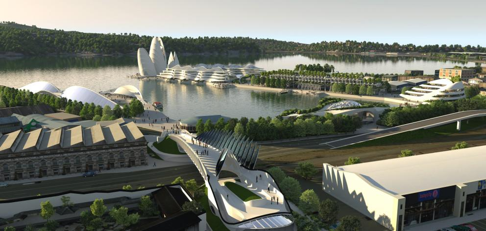 An updated image of the proposed Dunedin waterfront development. Image: Animation Research