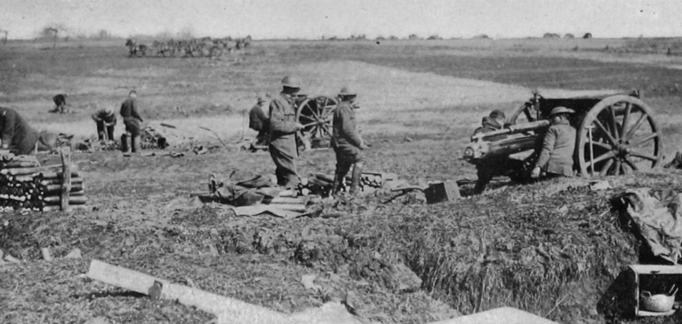 A battery of the New Zealand field artillery in action on the Somme, in France. - Otago Witness, 17.7.1918.