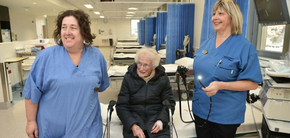 June Stephens (89) is shown around Dunedin Hospital's new $3.2million gastroenterology department...