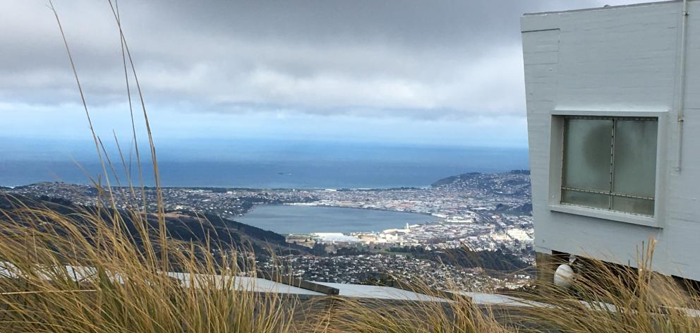 Looking down on central Dunedin from about 680m on top of Mt Cargill during Sunday's...