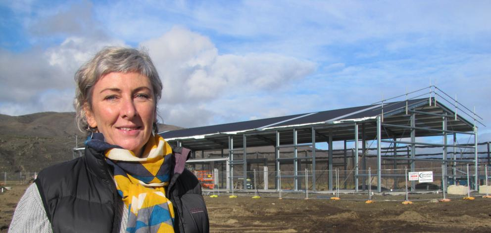 Otago Polytechnic Central Campus marketing and business development manager Melanie Kees looks over the beginnings of the polytechnic's new trades training facility at its Bannockburn Rd site. Photo: Pam Jones