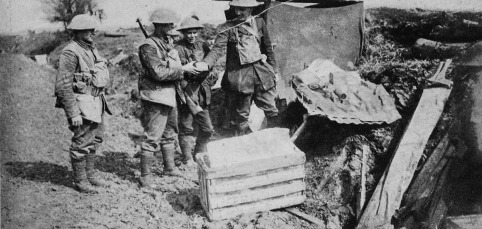 The padre of the New Zealand Rifle Brigade has a wayside canteen within 300 yards of the Somme...