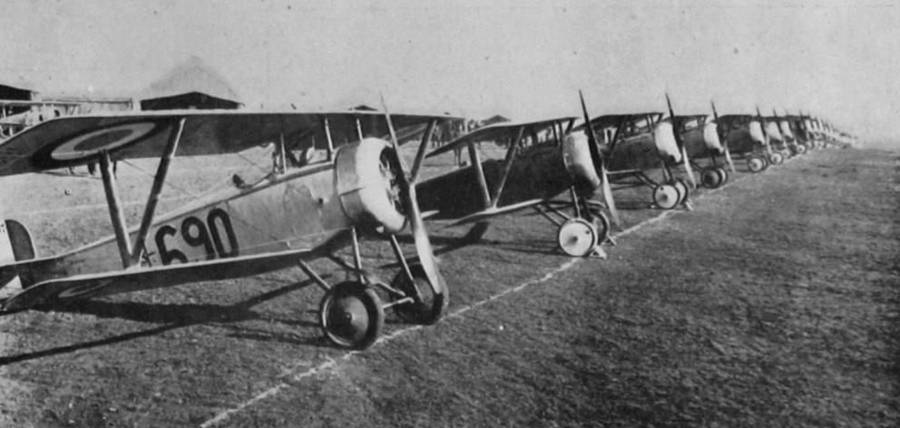 Aeroplanes lined up for inspection at the American Aviation School in France. — Otago Witness, 31...