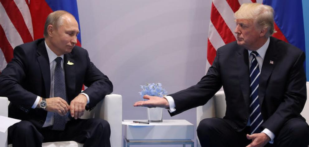 US President Donald Trump (right) meets with Russian President Vladimir Putin during their bilateral meeting at the G20 summit in Hamburg. Photo: Reuters