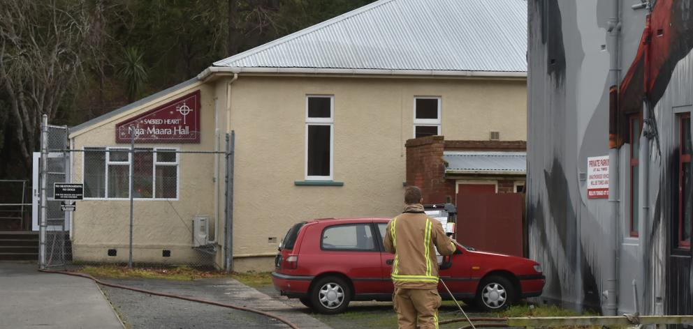 Fire crews were called to Sacred Heart School today. Photo: Gregor Richardson
