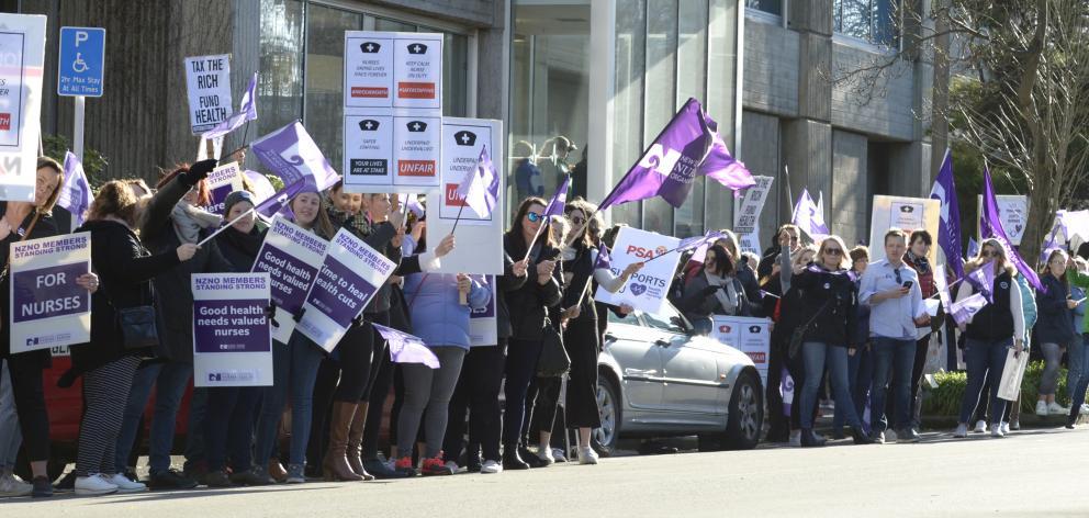 Nurses march outside Dunedin Hospital as part of their 24-hour strike. Photos: Gerard O'Brien.