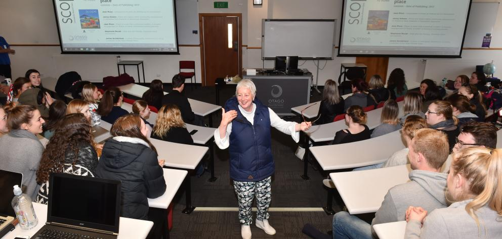 Dr Jean Ross lectures Otago Polytechnic third-year nursing students. Photo: Gregor Richardson