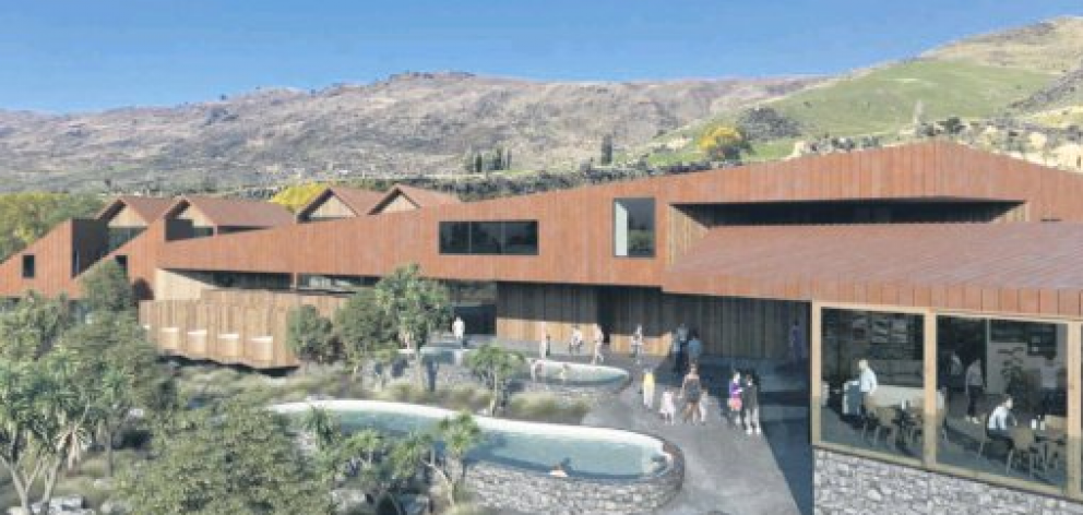 A proposed $24million complex in Cardrona village will include 12 hot pools and tubs as well as accommodation and retail offerings that the developer says will nestle into the landscape. Photo: Supplied