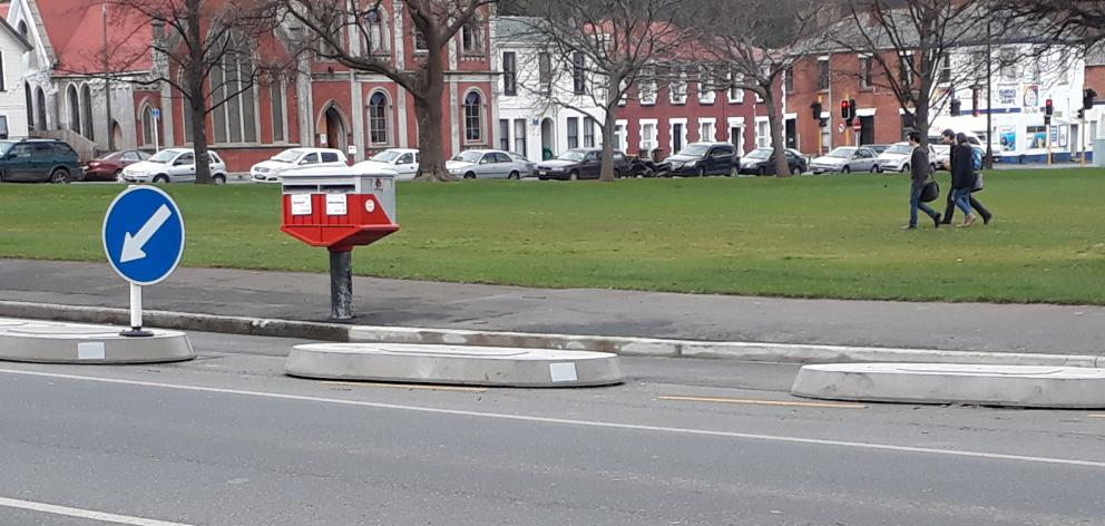 Once accessible by car, this post box by Dunedin's North Ground has become a bit stranded by highway changes, although it's handy if you are on a bike or walking. Photo: Peter Smith