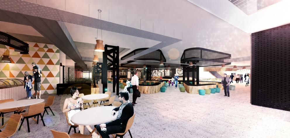 An artist's impression of the inside of the proposed food court in the planned new Invercargill...