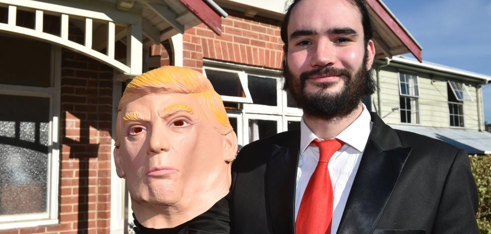 Kiel Soper dressed as United States President Donald Trump.