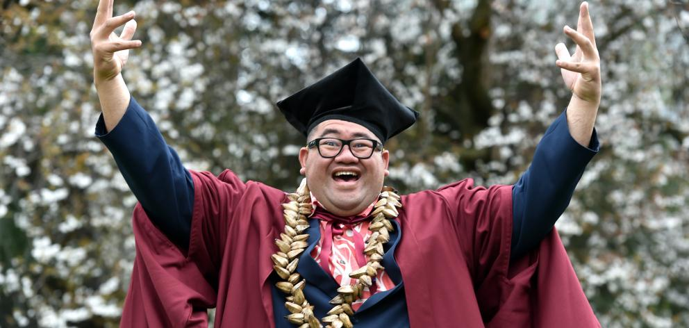 University of Otago PhD graduand Michael Ligaliga (39) on campus. Photo: Peter McIntosh