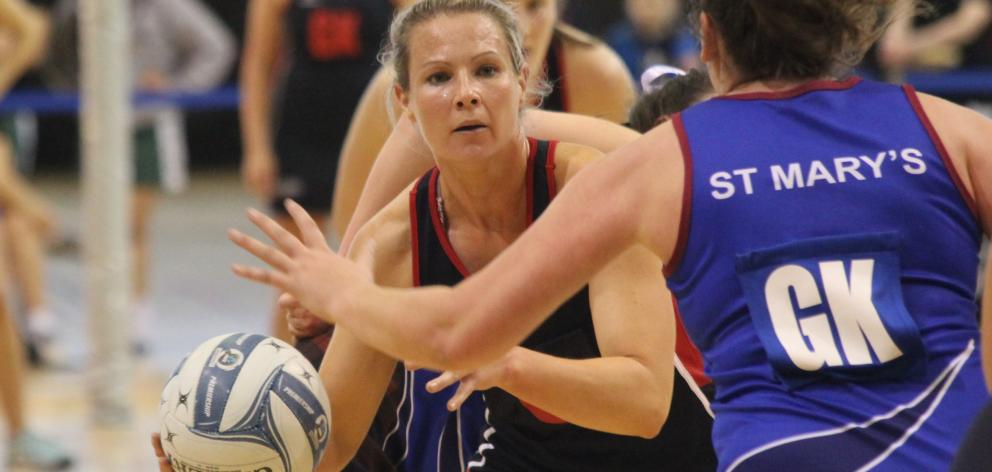 Rata centre Hayley Crofts in action during the Invercargill Netball Centre final against St Mary...