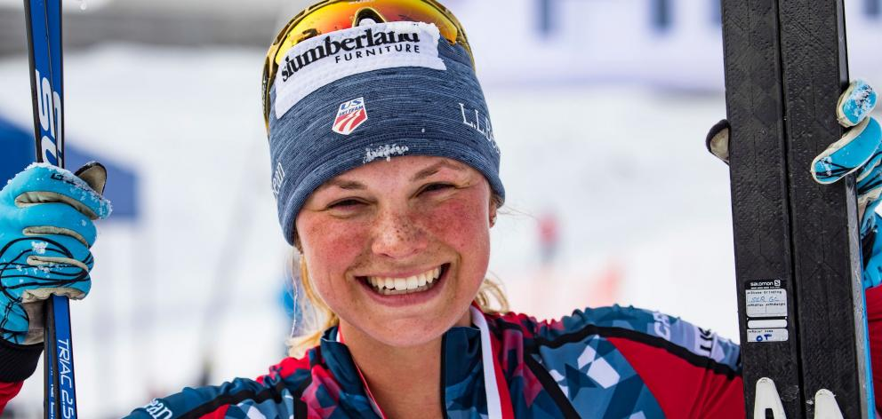 United States cross-country skier Jessica Diggins after winning the 2017 Merino Muster 42km...