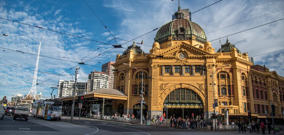 Flinders Street Station, Melbourne, Australia. Landmark and the main railway hub of Melbourne, Victoria, Australia. Photo: Getty Images