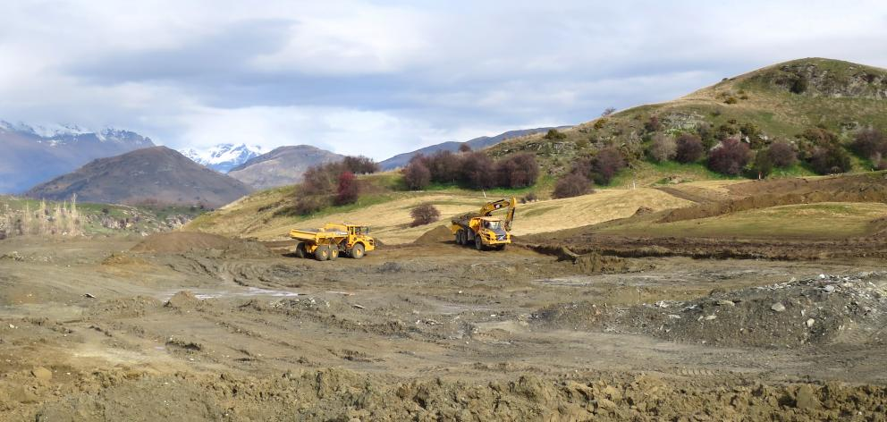 Work has started on a 30million-litre water storage lake at Millbrook's new development on the former Dalgleish Farm. Photo: Philip Chandler