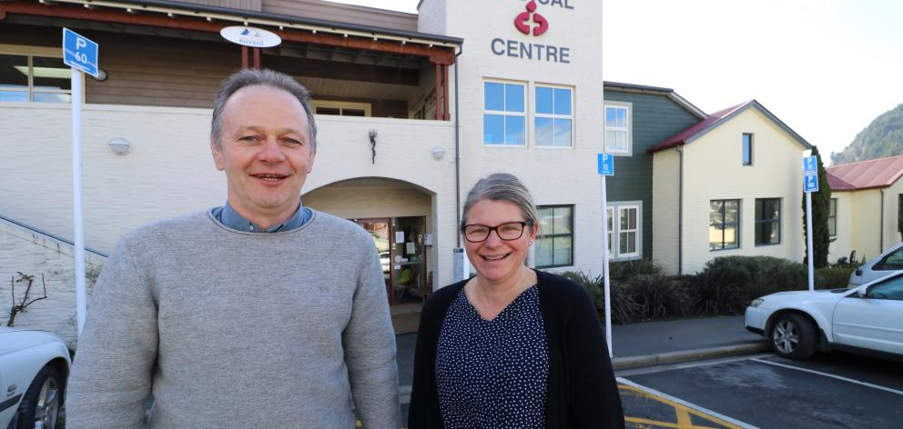 Dr Simon Davies and nurse Judy Reid outside Queenstown Medical Centre. Photo: Paul Taylor