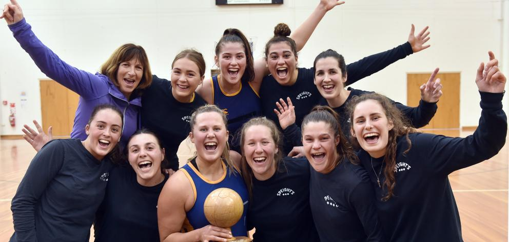 Phys Ed A celebrate winning the club netball competition against Southern at the Edgar Centre on...
