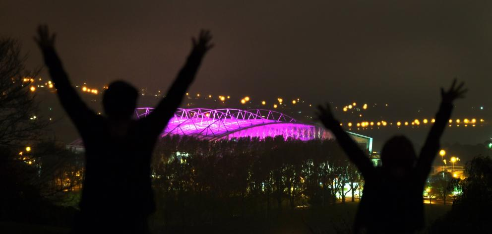 Forsyth Barr stadium  was lit  up in appropriate colours late last night to announce the latest...