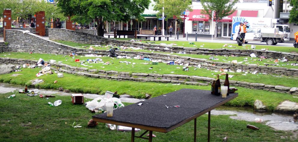 The aftermath of Crate Day 2016 on Queenstown's Village Green. PHOTO: PHILIP CHANDLER