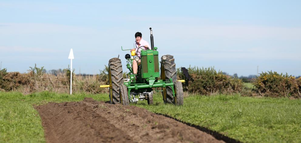Linda Cosgrove, of Blenheim, perfects her skills for the NZ Vintage Ploughing Championships.      PHOTOS: NORM STYLES