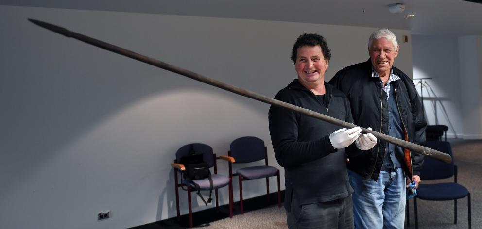 Taieri Mouth resident Trevor Griffin tests the lightness and balance of the 200-year-old toro he...