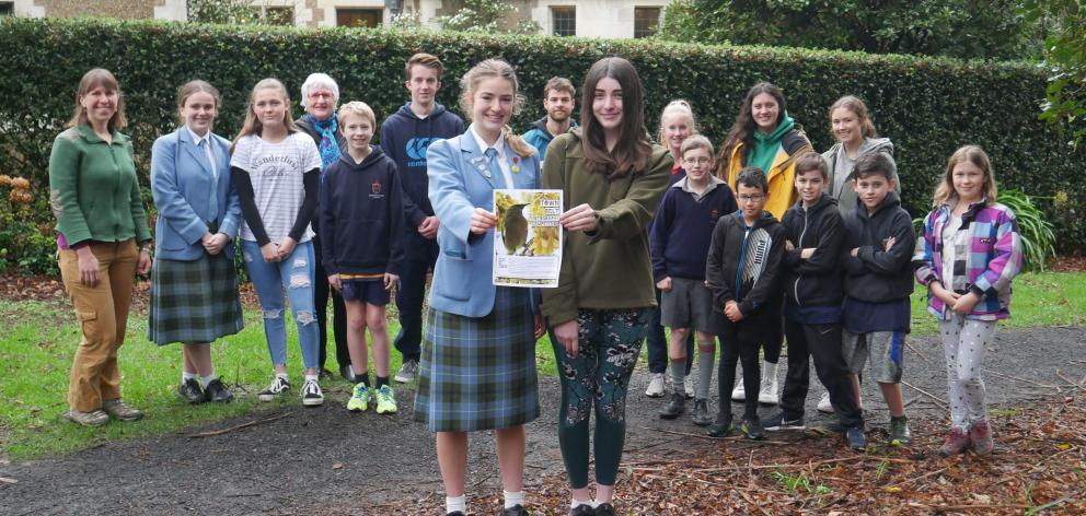 The Town Belt Education Initiative leadership group, including chairwoman Stephanie Post (16, front left) and photography competition co-leader Jenna Huggins (16, front right), is running a photography competition for Dunedin pupils. Photo: Jessica Wilson