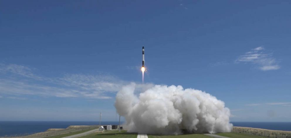 Rocket Lab's Electron rocket lifts off from their Mahia Peninsula launch site. Photo: Rocket Lab