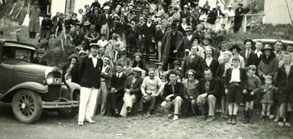 The crowd at the regatta, with ''The Commodore'', Herb Lanham, who built the Hoopers Inlet...