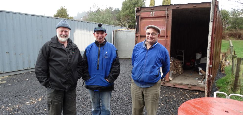 Green Island Shed men (from left) David Mackle, Ian Hand and Bruce Cromb look forward to welcoming the community to a ''shed shout''. Photo: Brenda Harwood