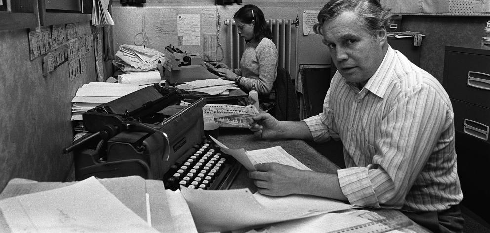 Former ODT business editor Michael Shelton working on sharetables one evening in 1980. The paper...
