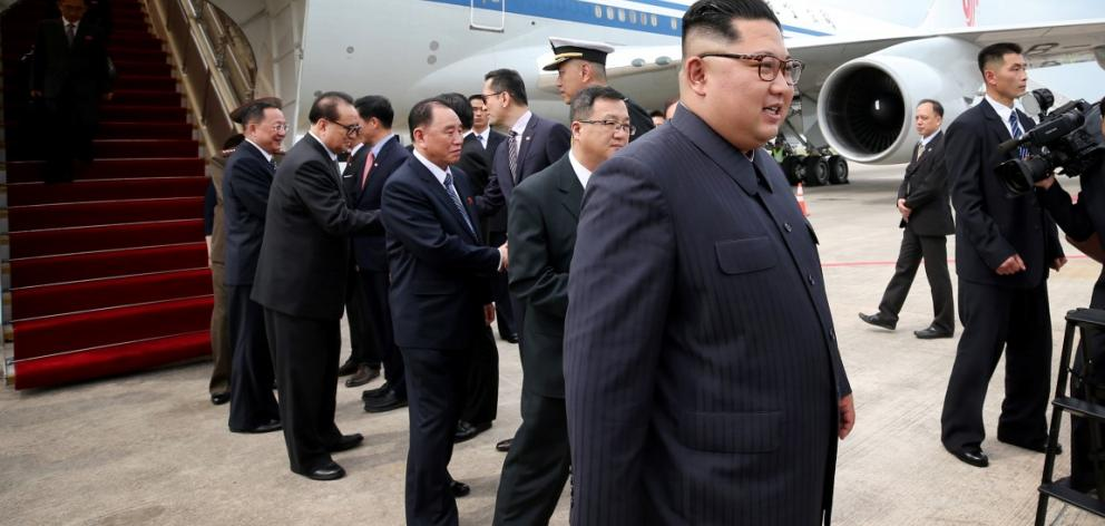 North Korean leader Kim Jong Un arrives in Singapore at the first summit with North Korea. Photo: Singapore's Ministry of Communications and Information via Reuters