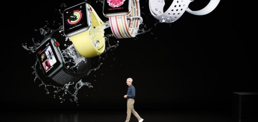 Tim Cook, CEO of Apple, introduces the new Apple watch. Photo: Reuters