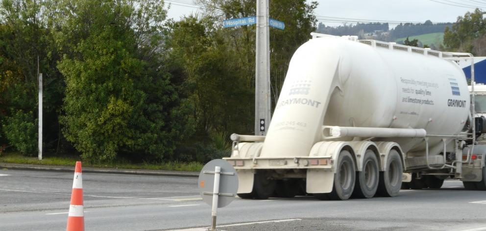 Balclutha residents are questioning the positioning of a pedestrian refuge on State Highway 1 to the south of the town, after a succession of accidents at the site. Photo: Richard Davison